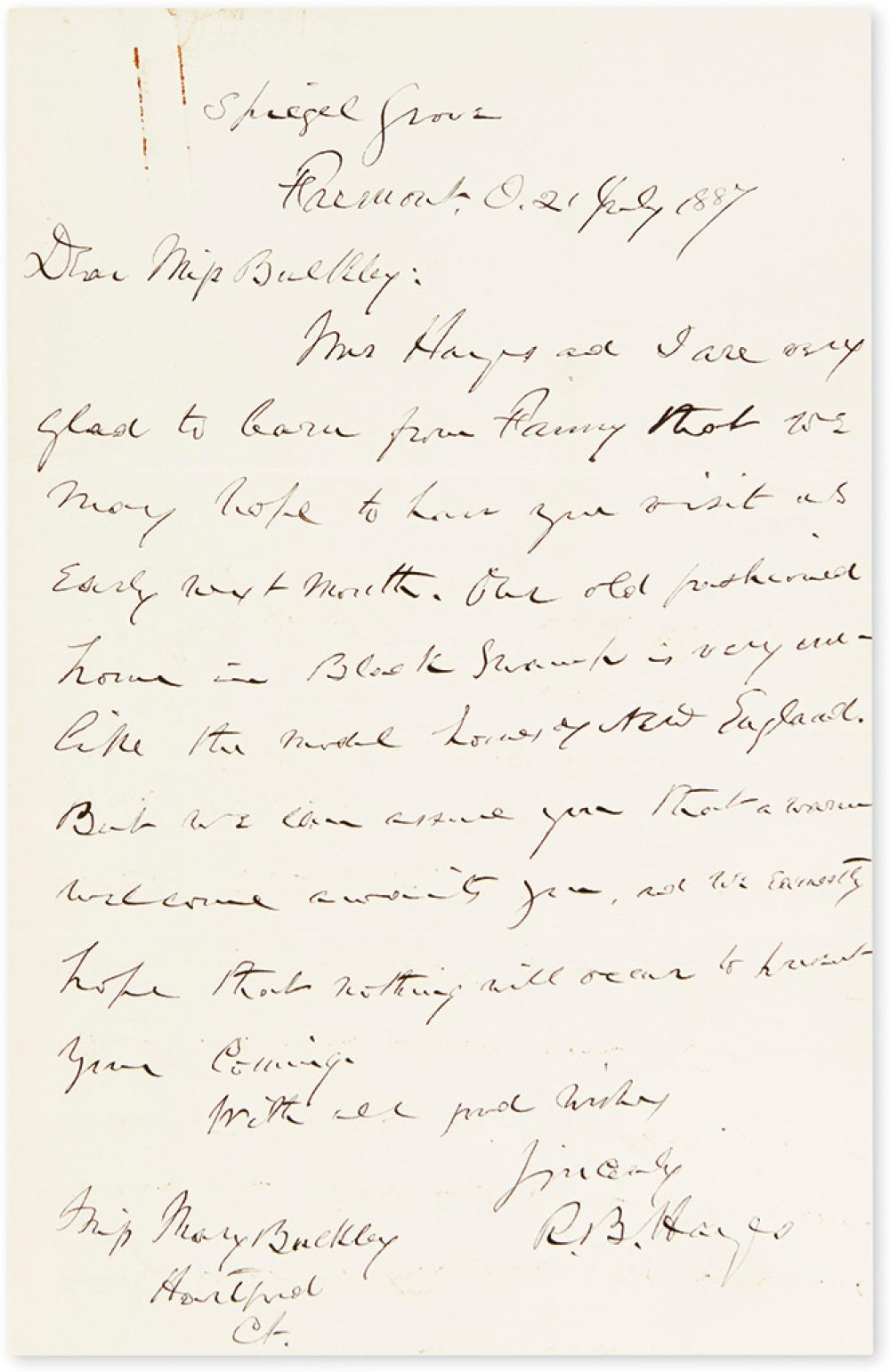 HAYES, RUTHERFORD B. Autograph Letter Signed,