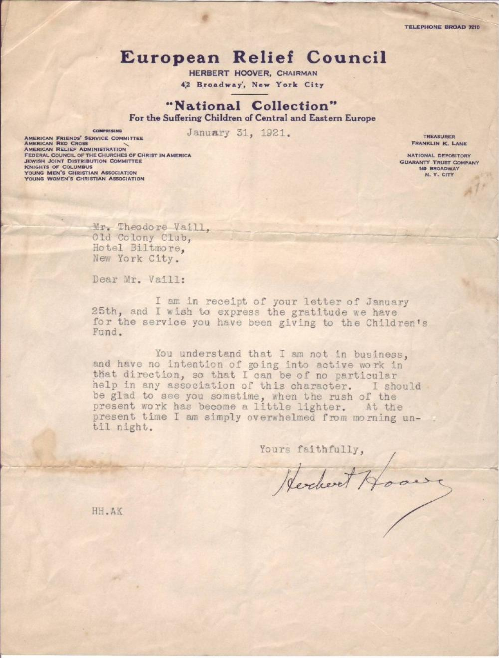 HOOVER, HERBERT. Typed Letter Signed, as Chairman of the European Relief Council,