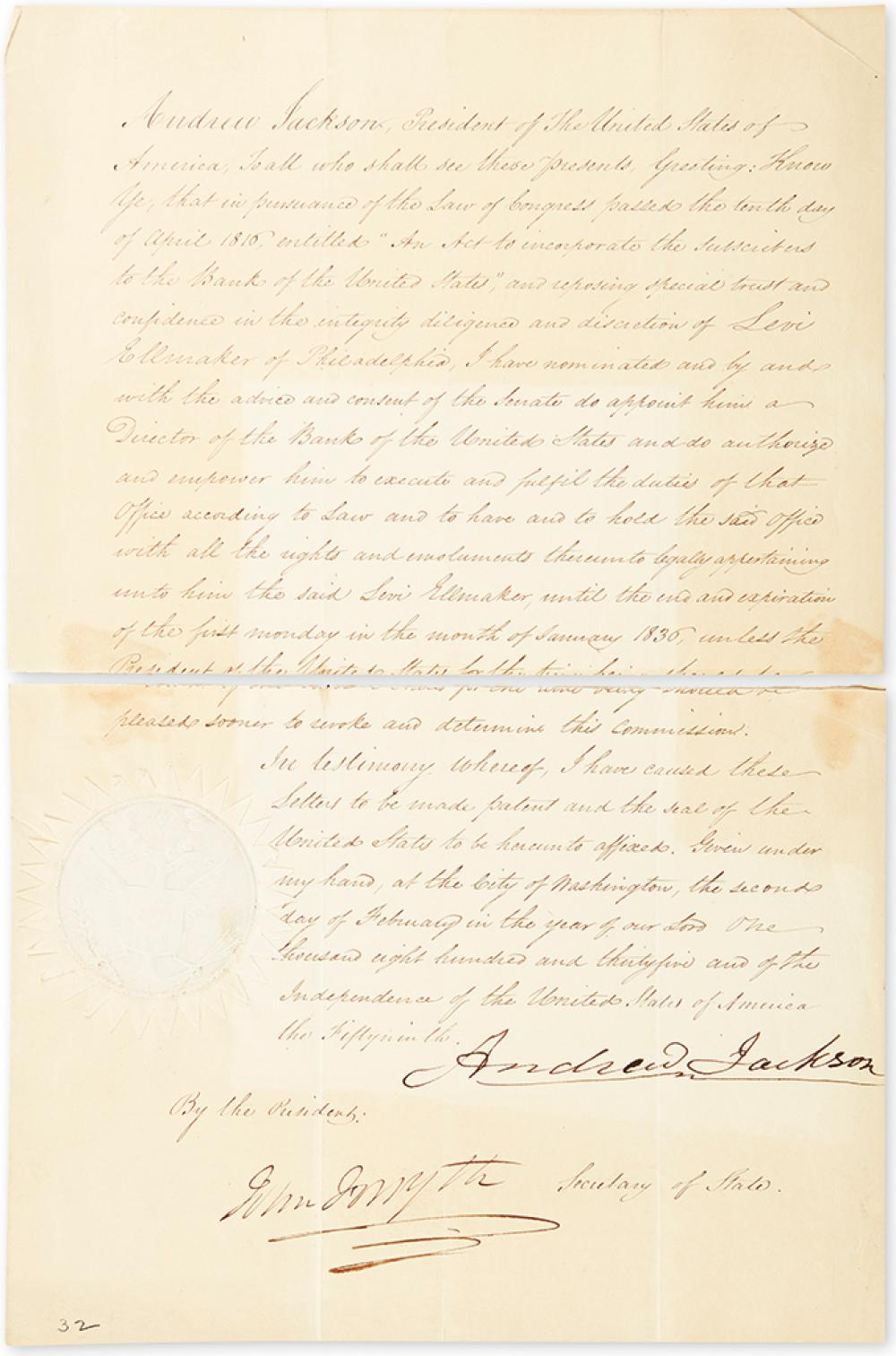 JACKSON, ANDREW. Document Signed, as President, appointing Levi Ellmaker a Director of the Bank of the United States.