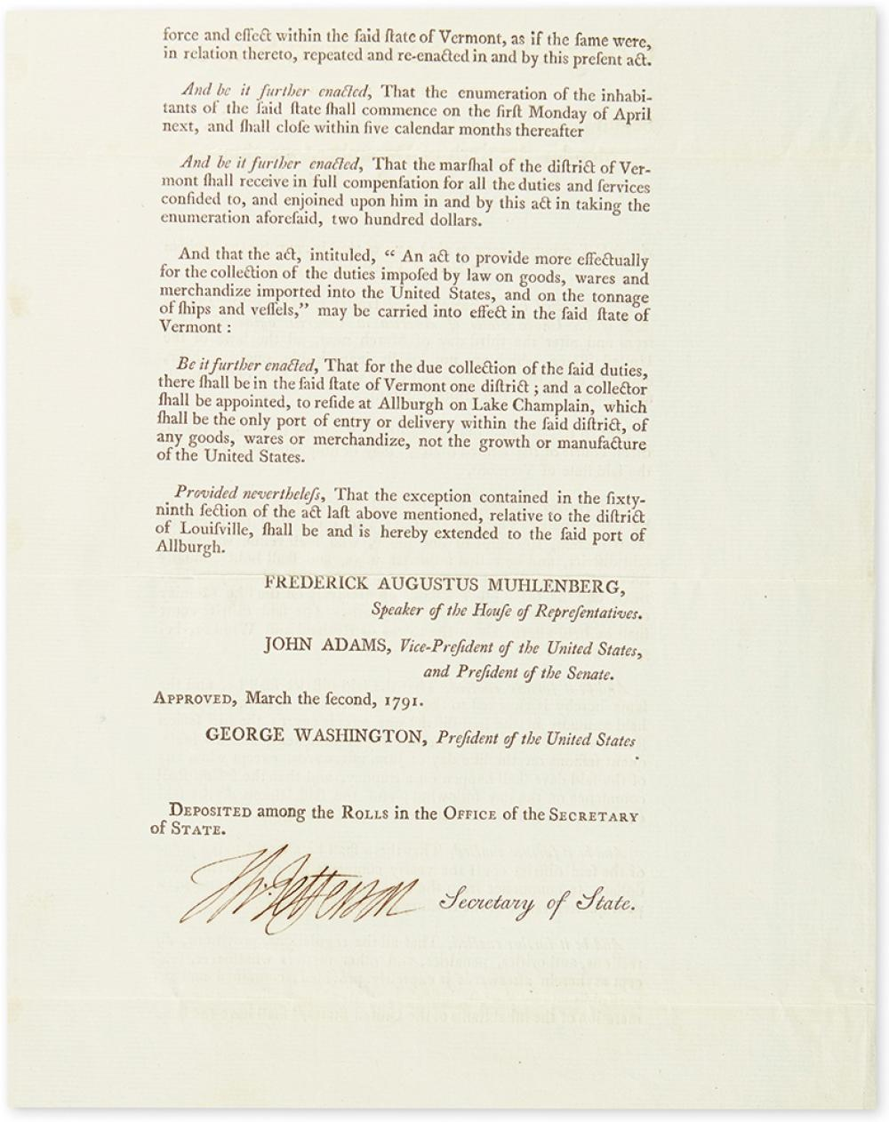 JEFFERSON, THOMAS. Printed Document Signed,