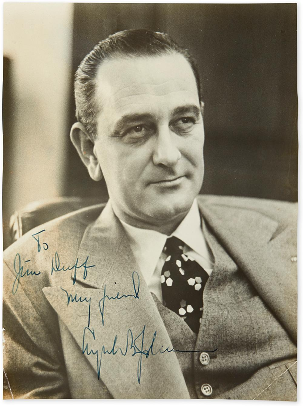 JOHNSON, LYNDON B. Photograph Signed and Inscribed,