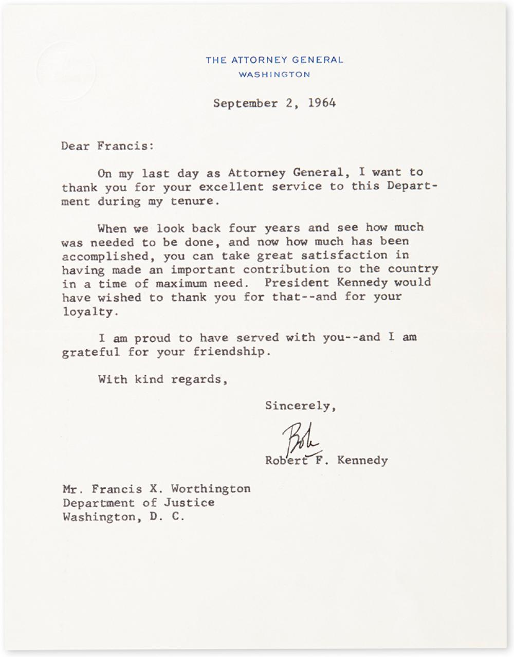 KENNEDY, ROBERT. Typed Letter Signed,
