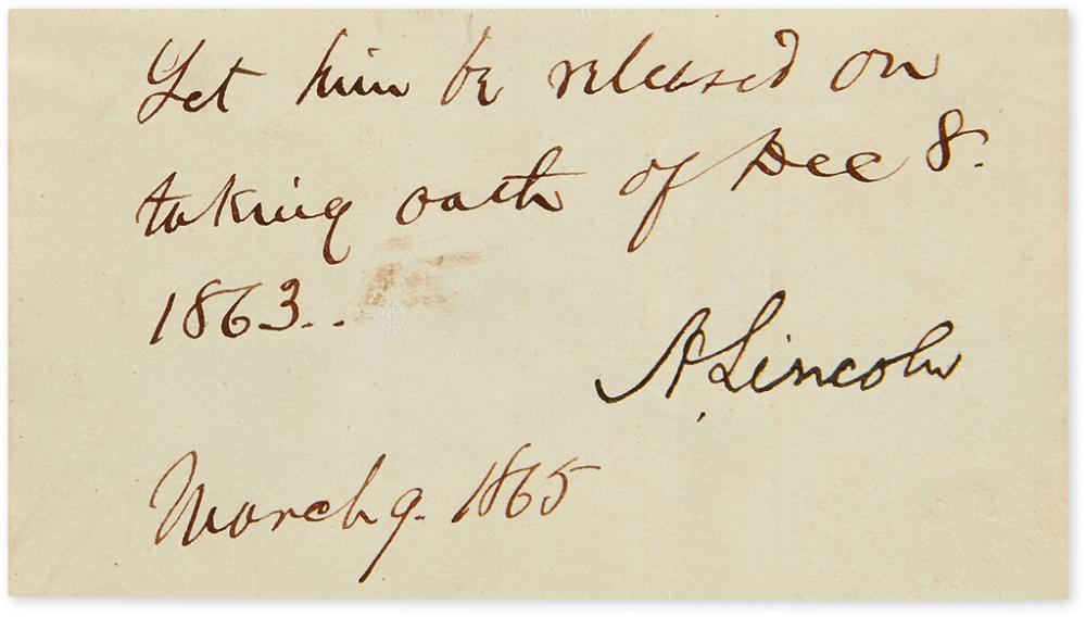LINCOLN, ABRAHAM. Endorsement Signed,