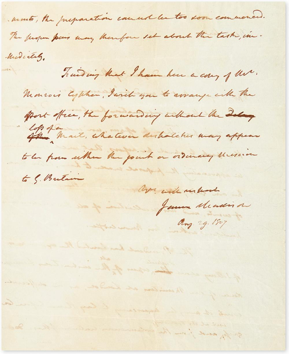 MADISON, JAMES. Autograph Letter Signed, as Secretary of State, to Daniel Carroll Brent (
