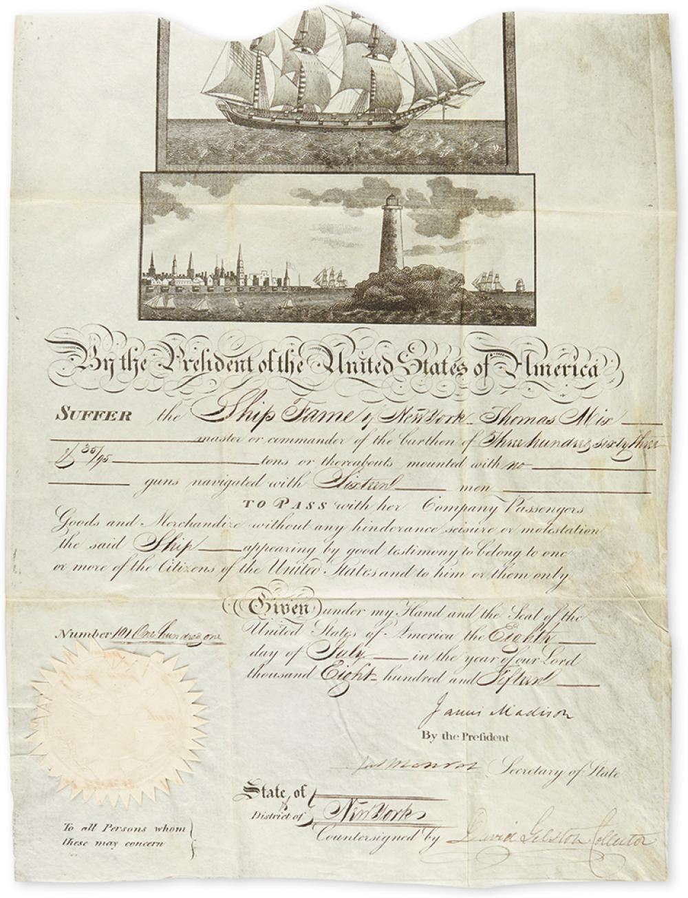 MADISON, JAMES. Partly-printed vellum Document Signed, as President,