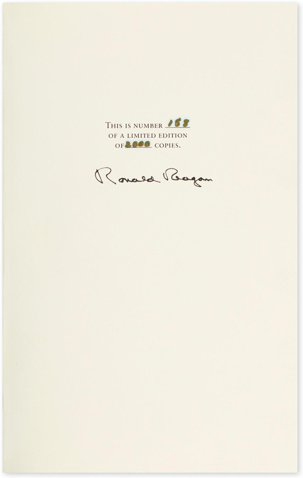 REAGAN, RONALD. An American Life. Signed, on the limitation page.