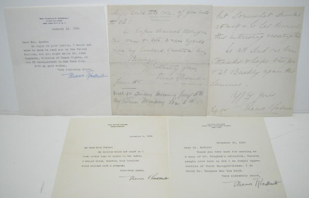 ROOSEVELT, ELEANOR. Group of 5 letters Signed, including Two Autograph Letters and Three Typed Letters, one as First Lady, to various r