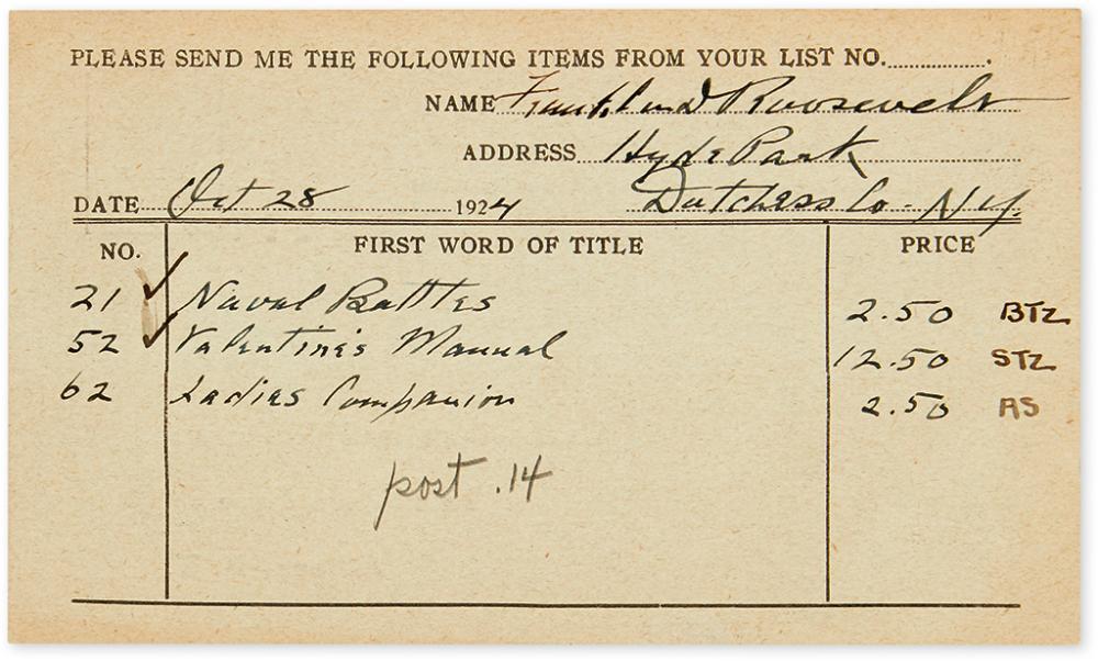 ROOSEVELT, FRANKLIN D. Partly-printed Document accomplished and Signed, bookseller's postcard order form,