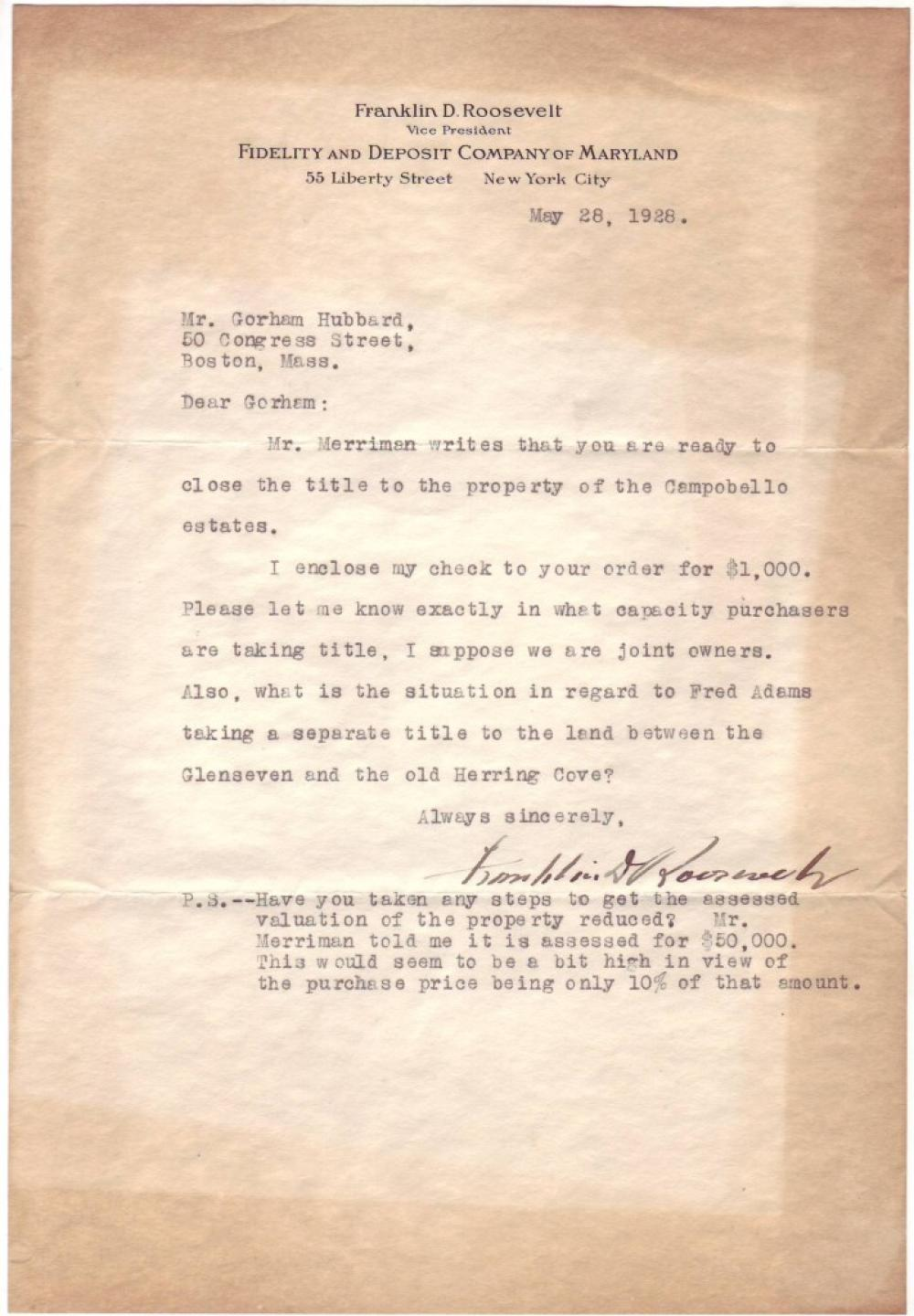 ROOSEVELT, FRANKLIN D. Typed Letter Signed, to real estate agent Gorham Hubbard, Jr.,