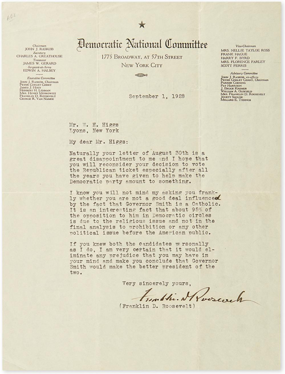ROOSEVELT, FRANKLIN D. Typed Letter Signed, to Mr. W.H. Higgs,