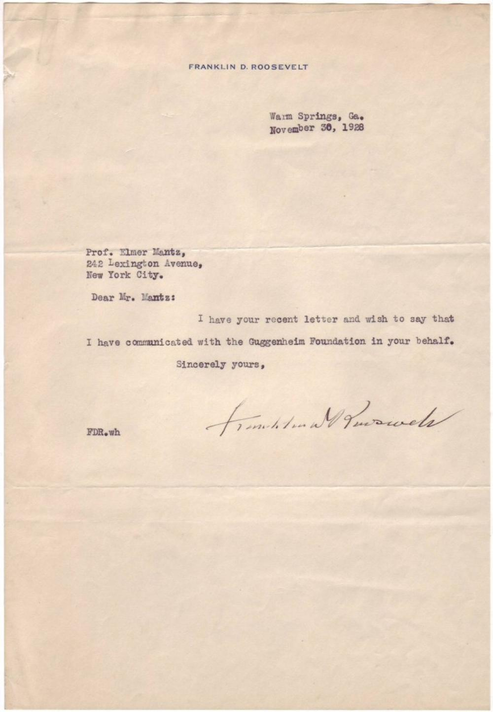 ROOSEVELT, FRANKLIN D. Typed Letter Signed, to Elmer Mantz,