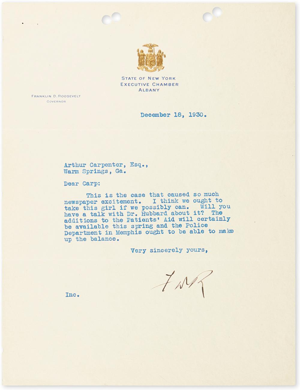 ROOSEVELT, FRANKLIN D. Typed Letter Signed,