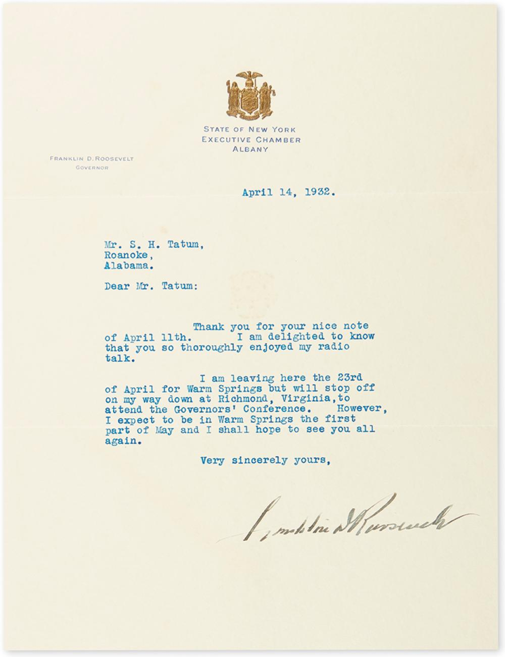 ROOSEVELT, FRANKLIN D. Typed Letter Signed, as Governor, to Samuel H. Tatum,