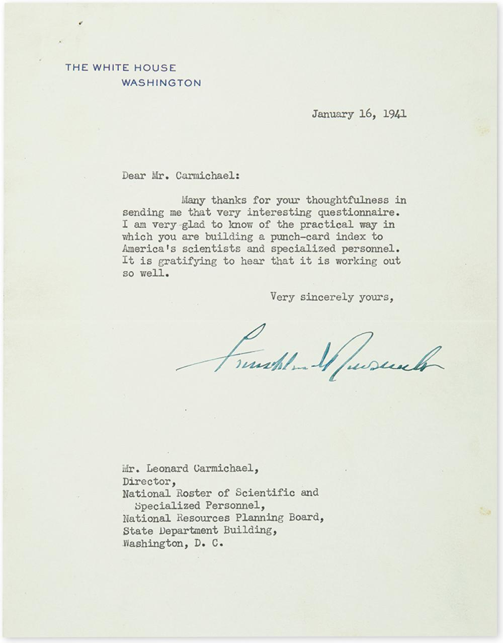 ROOSEVELT, FRANKLIN D. Typed Letter Signed, as President, to Director of the National Roster of Scientific and Specialized Personnel Le