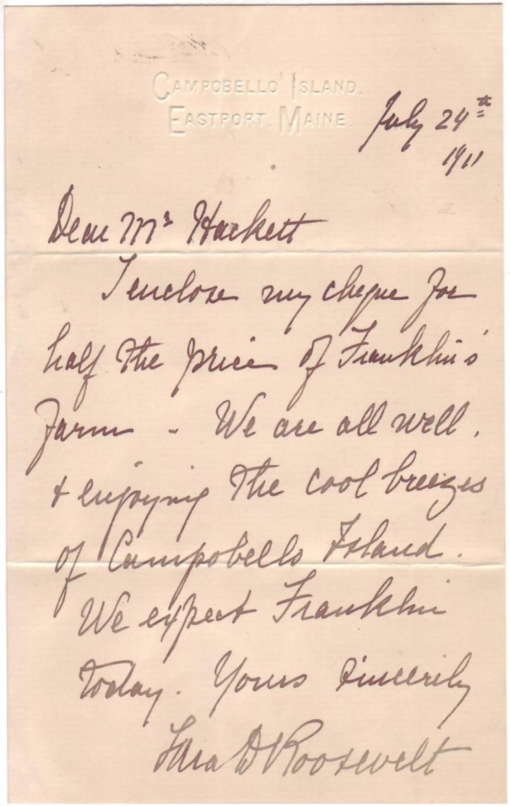 ROOSEVELT, SARA DELANO. Autograph Letter Signed,
