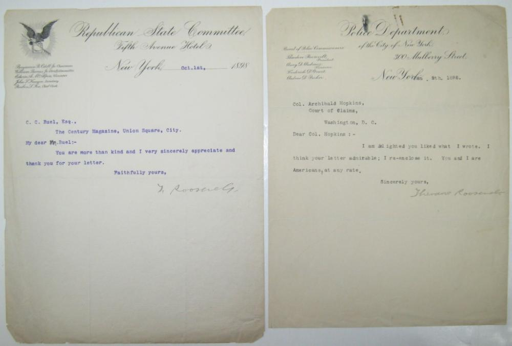 ROOSEVELT, THEODORE. Two Typed Letters Signed.