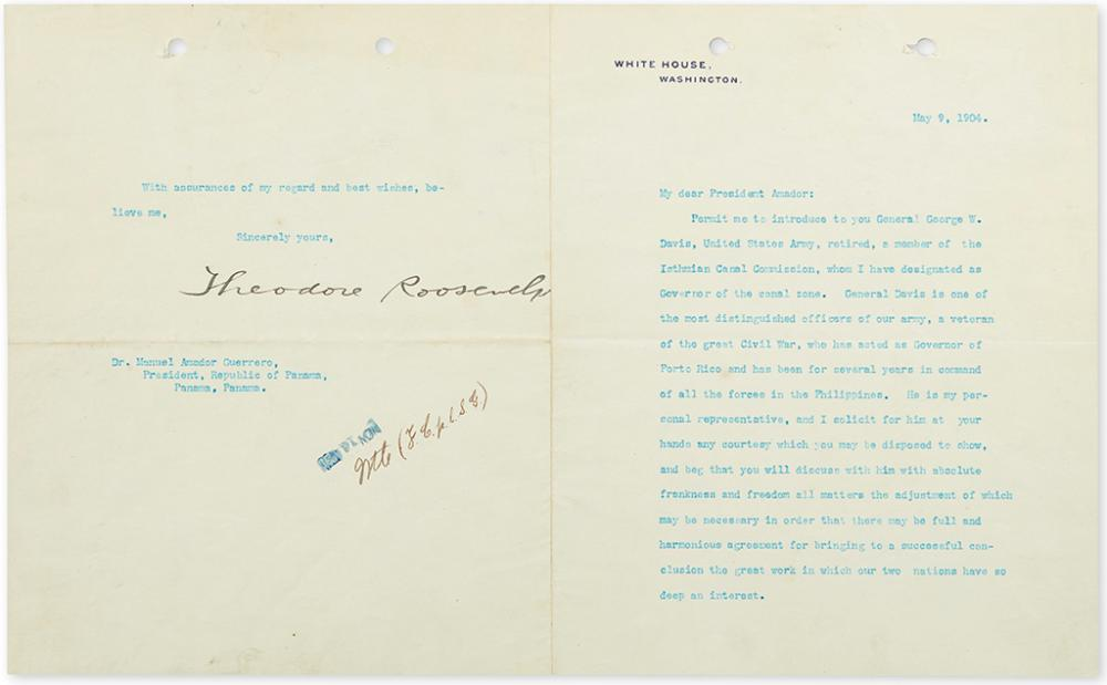 ROOSEVELT, THEODORE. Typed Letter Signed, as President, to the President of Panama Manuel Amador Guerrero,