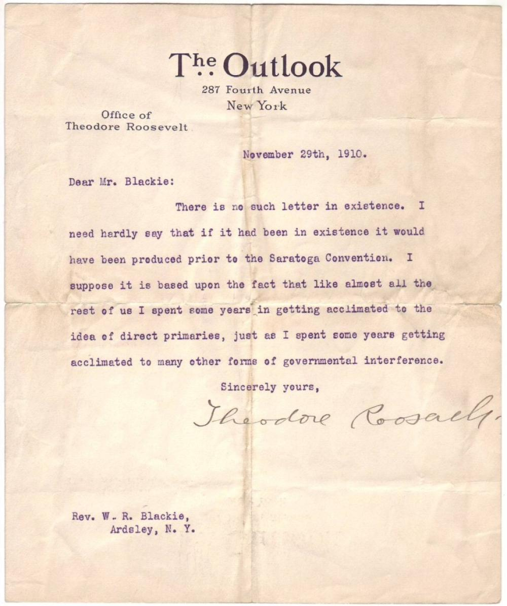 ROOSEVELT, THEODORE. Typed Letter Signed, to Rev. William R. Blackie,