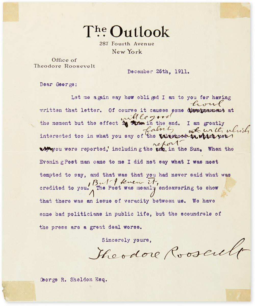 ROOSEVELT, THEODORE. Group of three Typed Letters Signed, to Republican Party Treasurer George R. Sheldon,