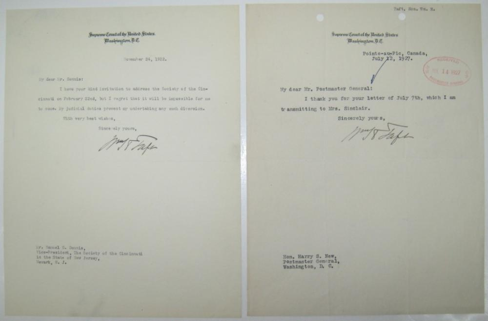 TAFT, WILLIAM HOWARD. Two Typed Letters Signed,