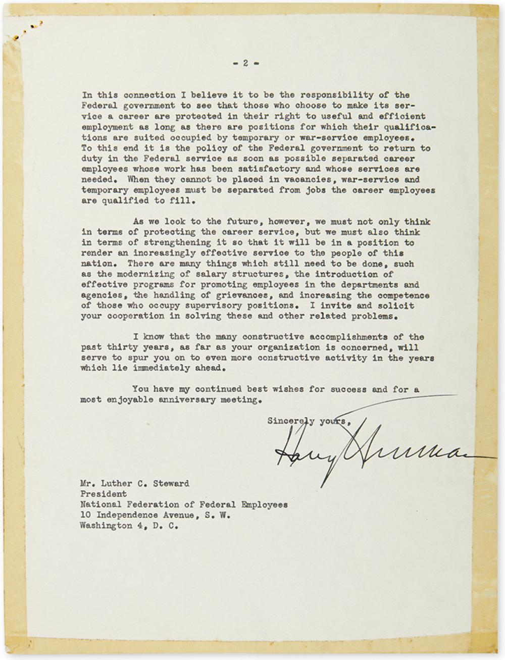 TRUMAN, HARRY S. Typed Letter Signed, as President, to President of the National Federation of Federal Employees Luther Corwin Steward,