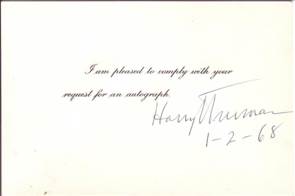 TRUMAN, HARRY S. Signature and date, on a small card below the printed text,