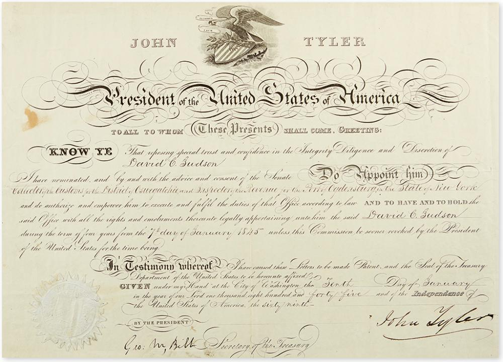 TYLER, JOHN. Partly-printed Document Signed, as President, appointing David C. Judson Customs Collector for Oswegatchie and Revenue Ins