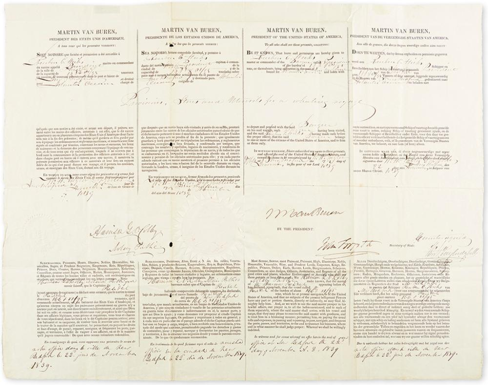 VAN BUREN, MARTIN. Partly-printed Document Signed, as President,