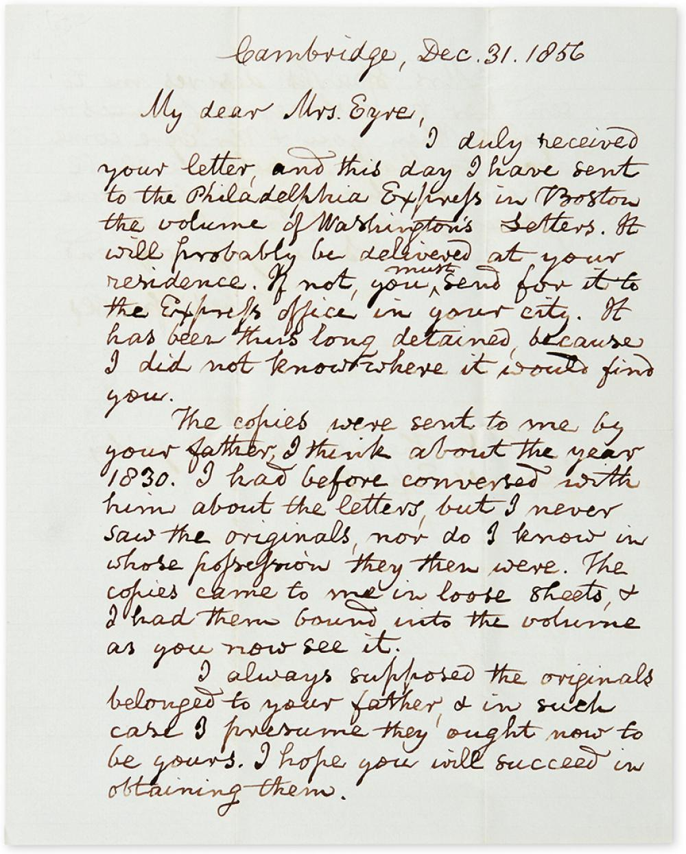 (WASHINGTON, GEORGE.) SPARKS, JARED. Autograph Letter Signed, to Louisa Lear Eyre (