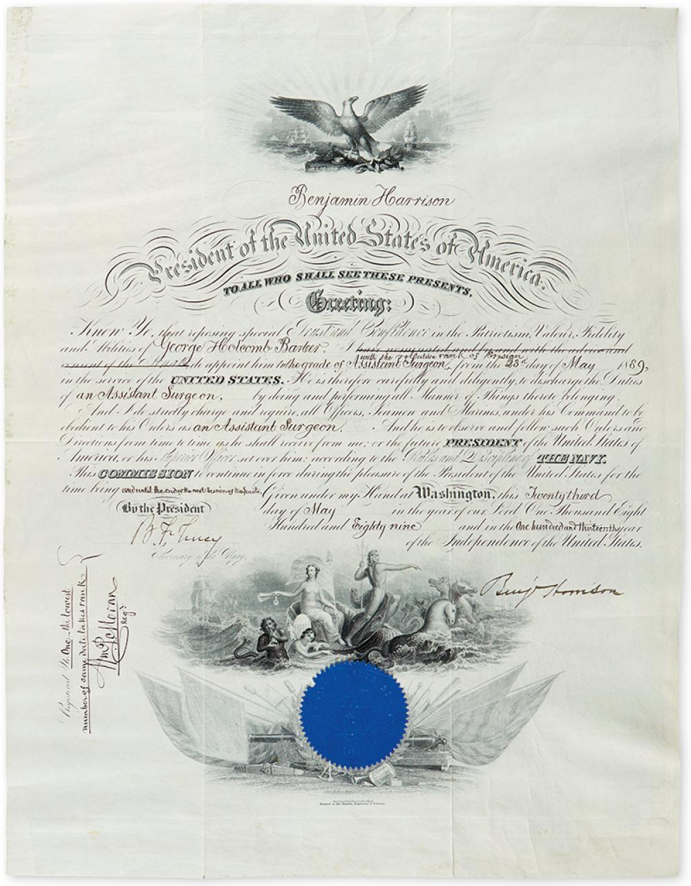 (PRESIDENTS.) Group of 3 partly-printed vellum Documents Signed, each by a President, as President: Benjamin Harrison * Grover Clevelan