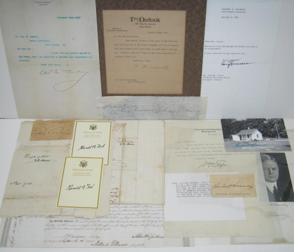 (PRESIDENTS.) Group of 15 items Signed.