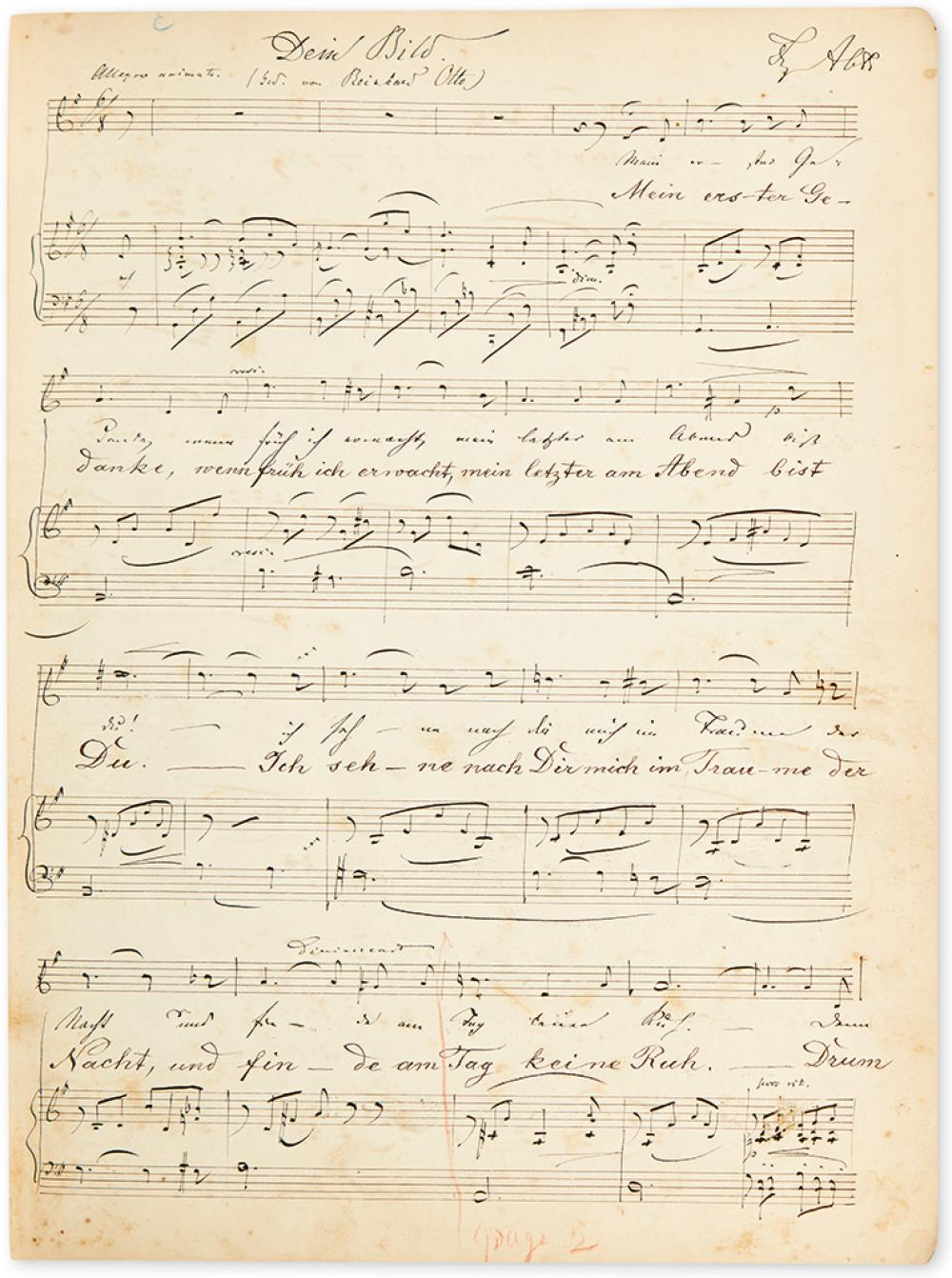ABT, FRANZ. Group of 4 Autograph Musical Manuscripts Signed, each with holograph lyrics and title, in German, and with a holograph titl