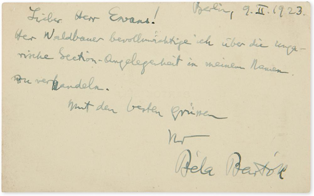 BARTÓK, BÉLA. Brief Autograph Letter Signed, to