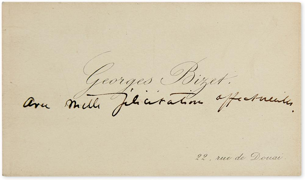BIZET, GEORGES. Autograph Note, unsigned, to an unnamed recipient, in French, on his printed visiting card: