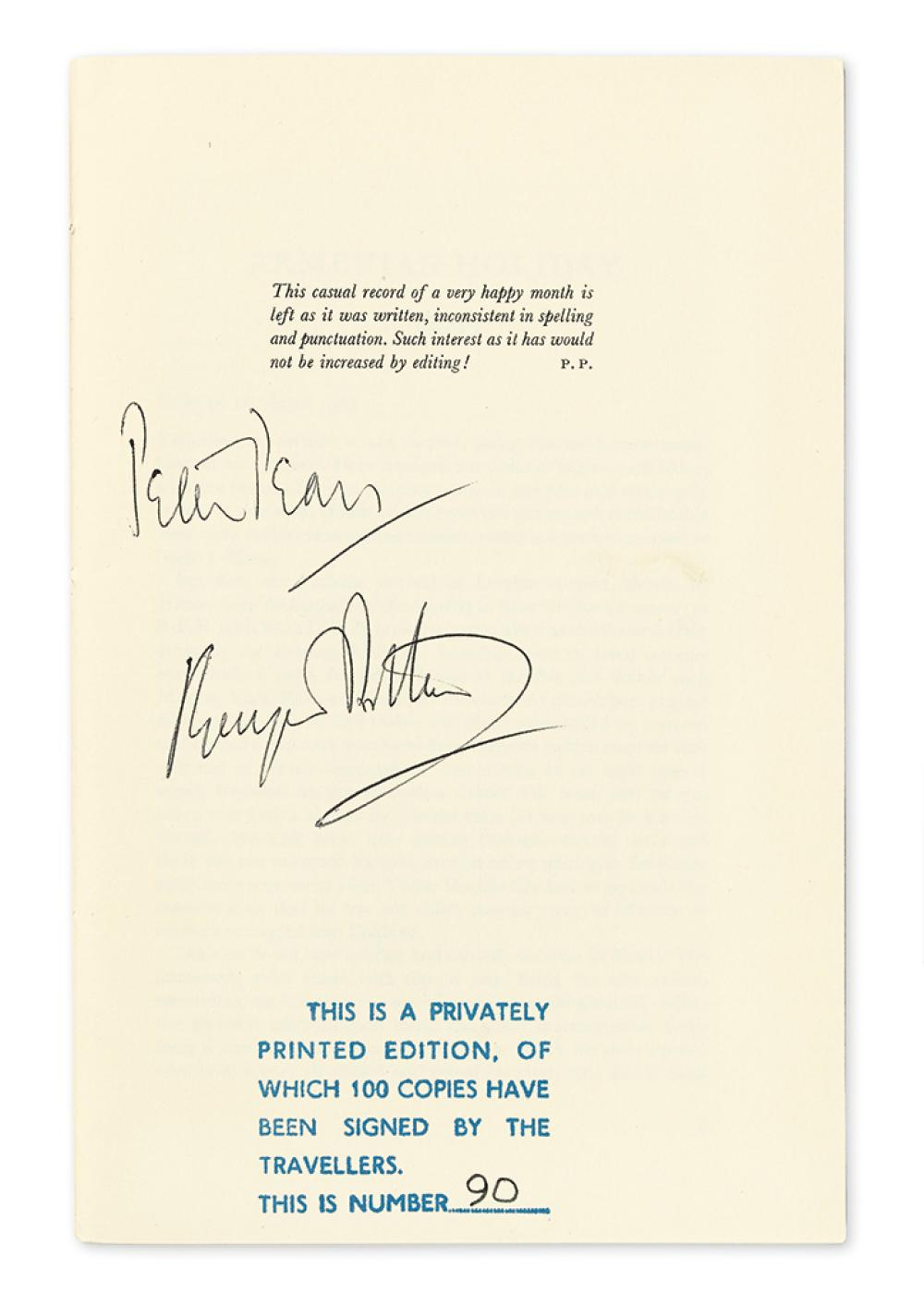 BRITTEN, BENJAMIN; AND PETER PEARS. Armenian Holiday: August 1965. Signed, by both, on preface page.