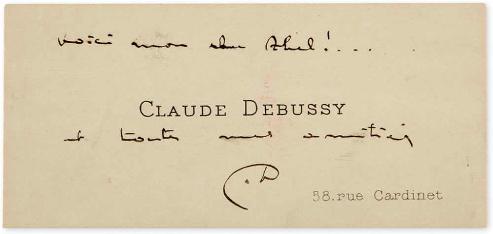 DEBUSSY, CLAUDE. Autograph Note Signed,