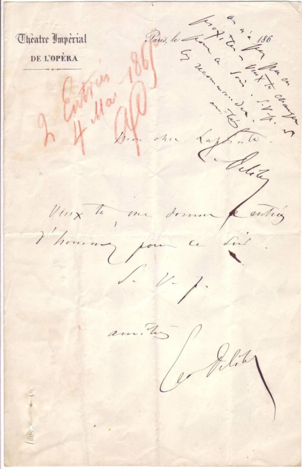 DELIBES, LÉO. Autograph Note Signed, to