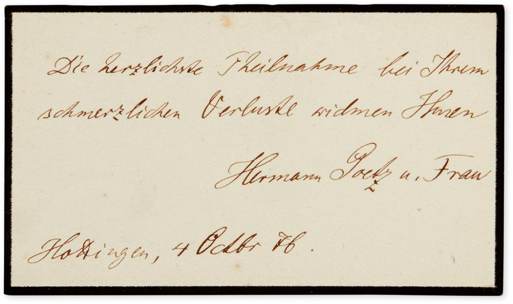 GOETZ, HERMANN. Autograph Note Signed,