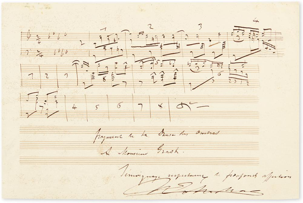 GOTTSCHALK, LOUIS MOREAU. Autograph Musical Quotation Signed and Inscribed,