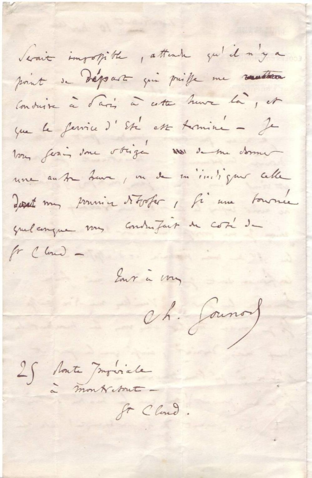 GOUNOD, CHARLES. Autograph Letter Signed,