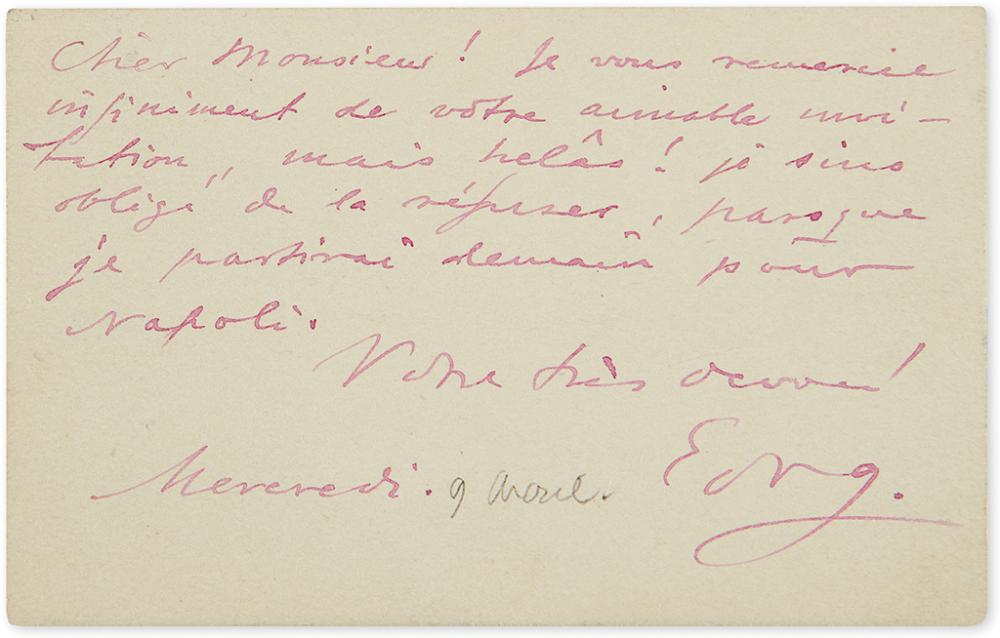 GRIEG, EDVARD. Autograph Note Signed,