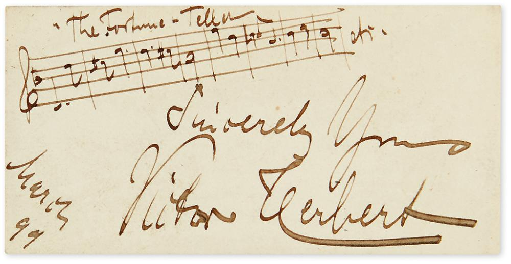 HERBERT, VICTOR. Autograph Musical Quotation Signed and Inscribed,