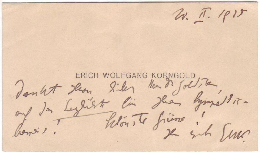 KORNGOLD, ERICH WOLFGANG. Autograph Note Signed,