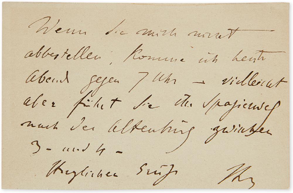LISZT, FRANZ. Autograph Note Signed,