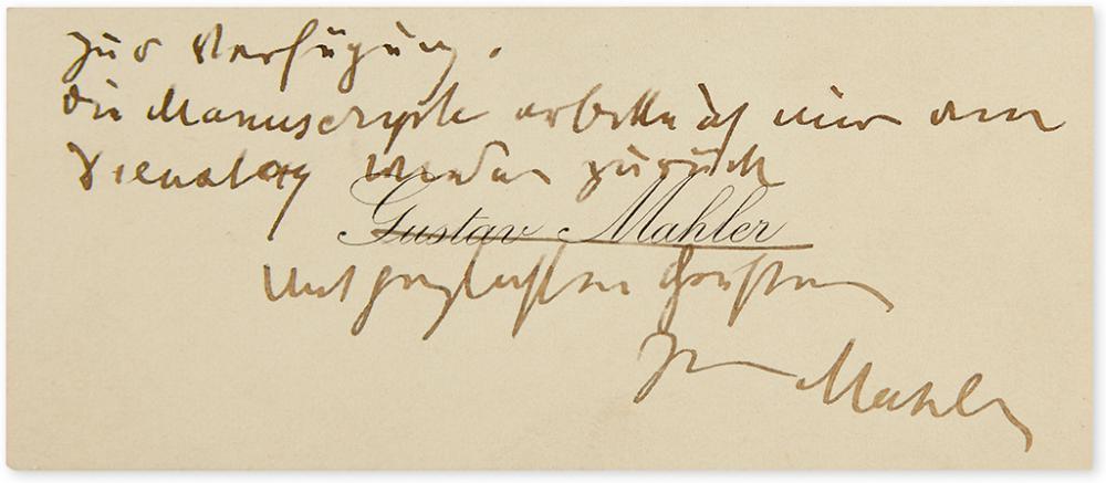 MAHLER, GUSTAV. Autograph Note Signed,