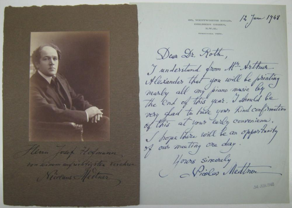 MEDTNER, NIKOLAI. Two items: Photograph Signed and Inscribed, to pianist Josef Hofmann * Autograph Letter Signed, to