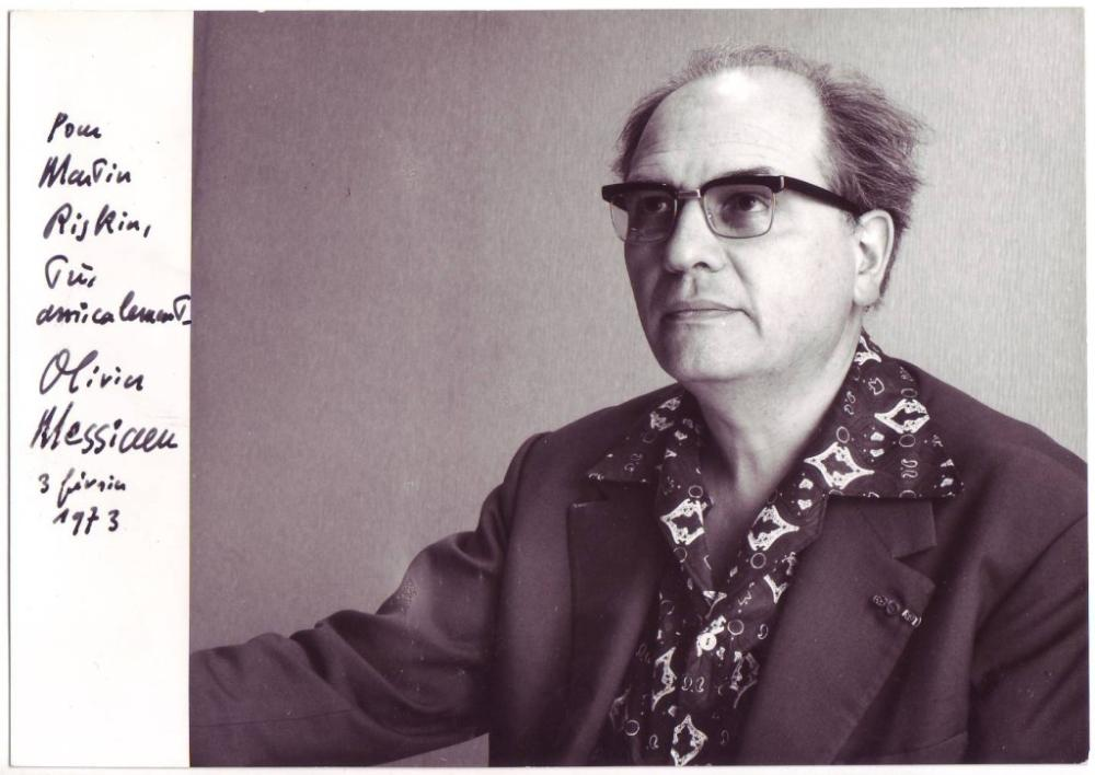 MESSIAEN, OLIVIER. Photograph Signed and Inscribed,