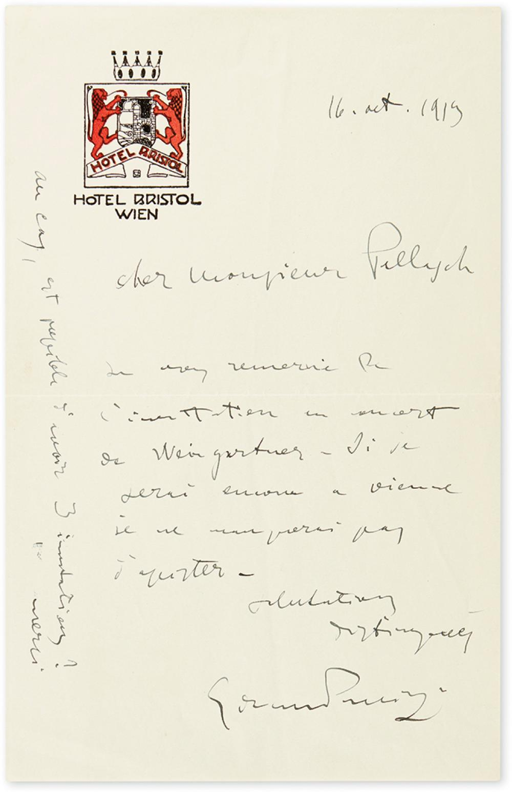 PUCCINI, GIACOMO. Autograph Letter Signed, to