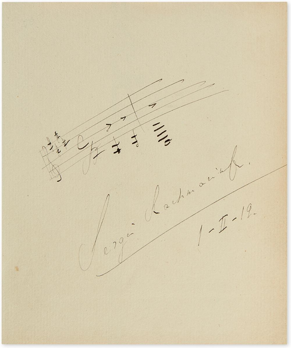 RACHMANINOFF, SERGEI. Autograph Musical Quotation dated and Signed, two bars from his Prelude in C sharp minor.