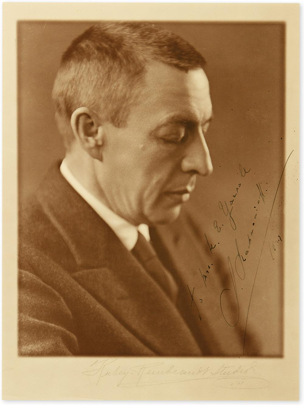 RACHMANINOFF, SERGEI. Photograph Signed and Inscribed,